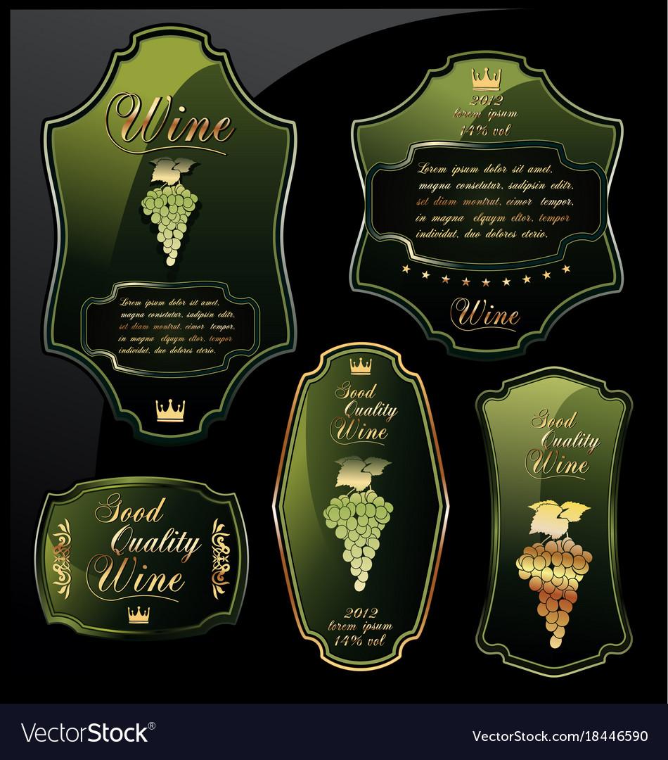 Green wine labels on black background vector image