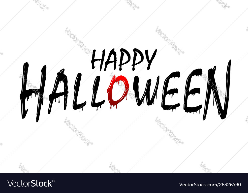Happy halloween text black scary design isolated