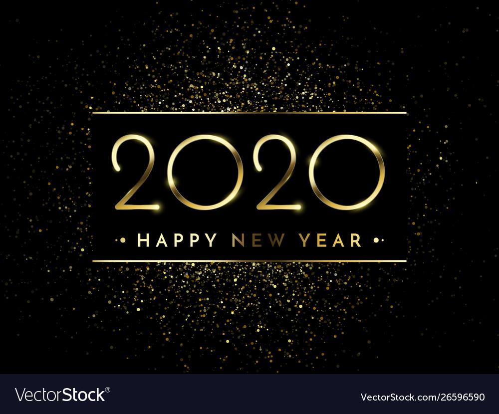 Happy new year glitter gold fireworks golden