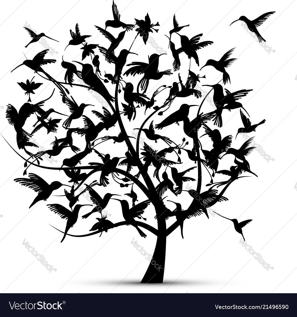 Hummingbird tree sketch for your design