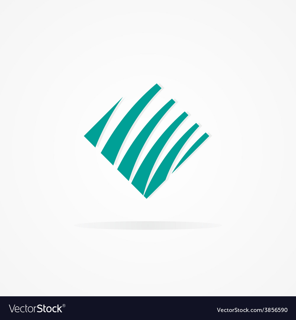 Logo with a combination of cube and waves