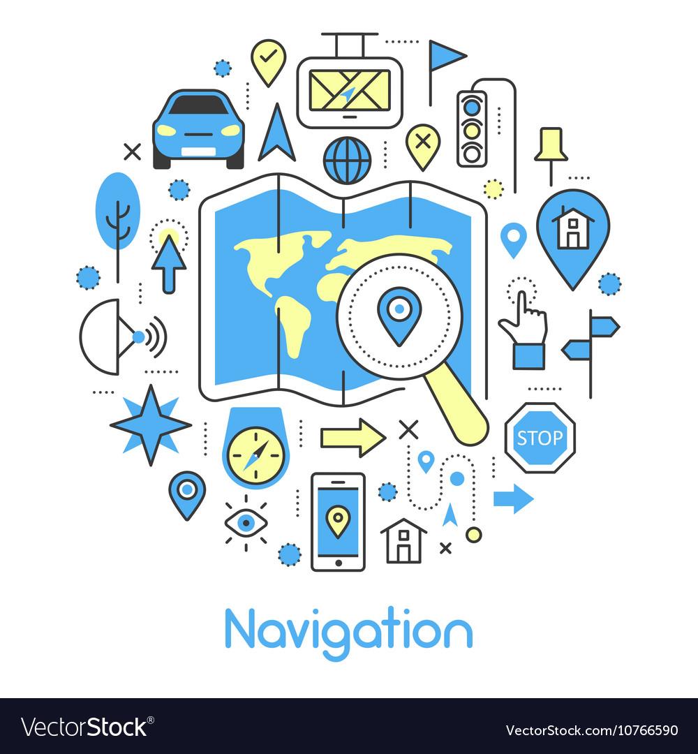 Navigation Cartography Thin Line Icons Set