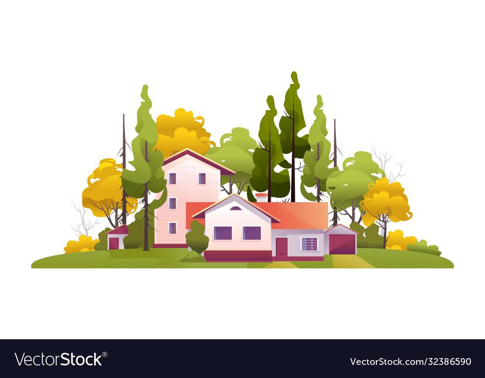 Rural house among trees