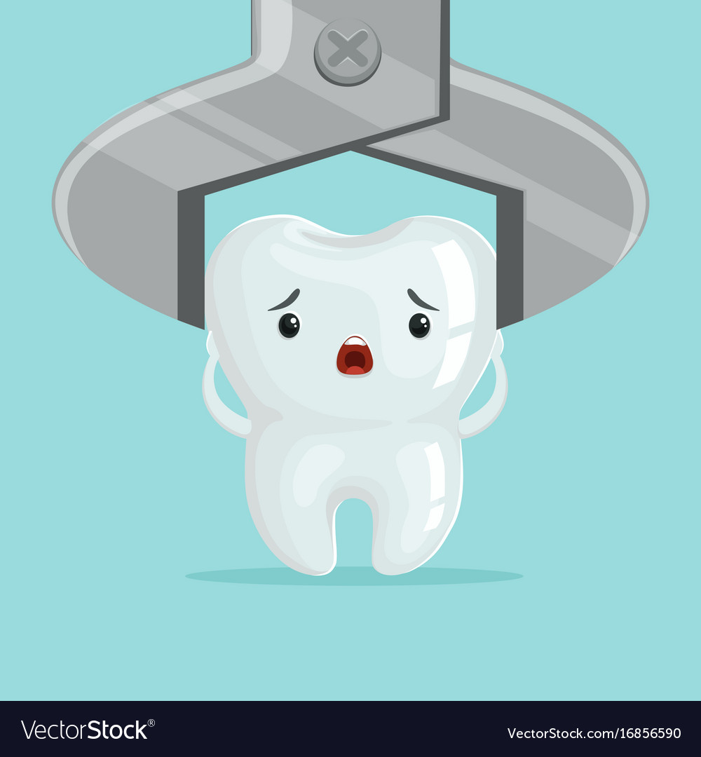 Sad Cartoon Tooth Character Extraction By Dental Vector Image