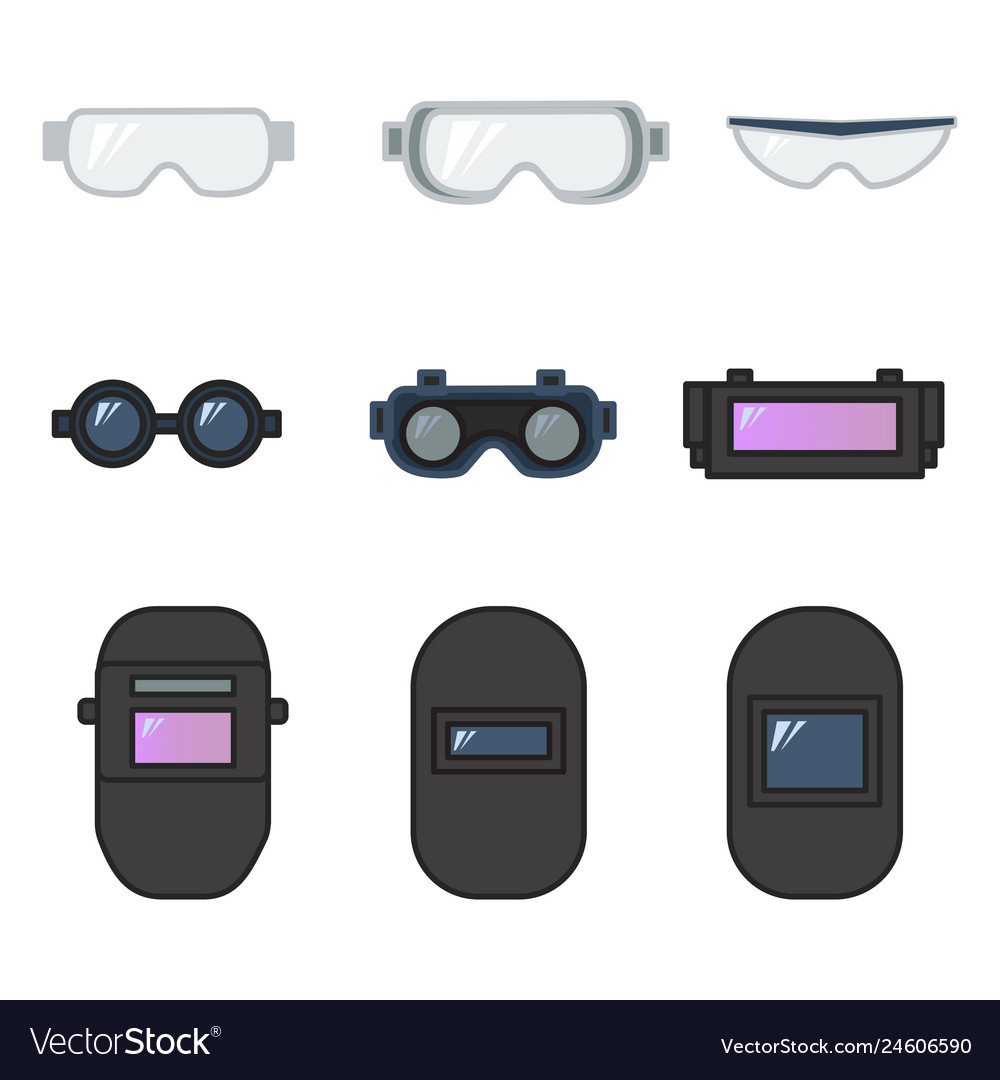 Set of safety goggles and welding helmet for eye