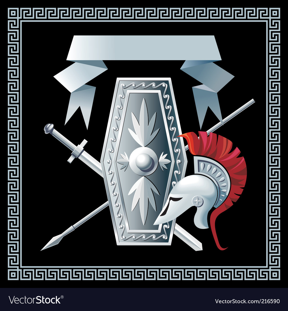 Shield sword helmet and spear