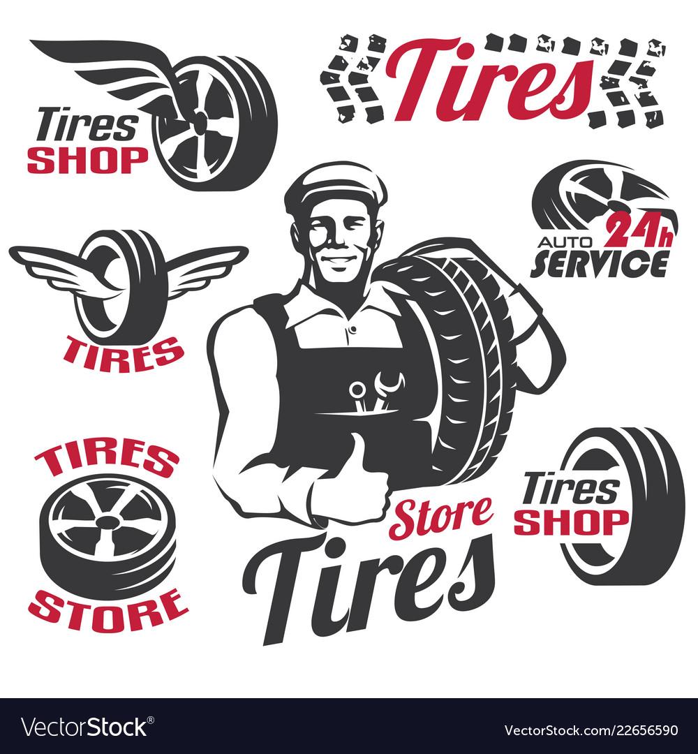 Tires shop or service retro emblem and labels