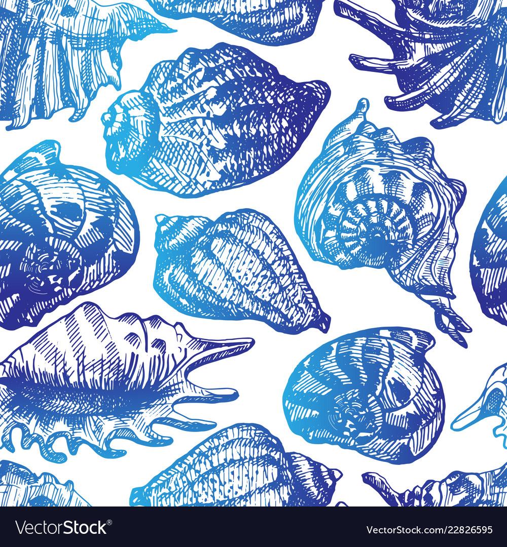 Blue seashells seamless pattern
