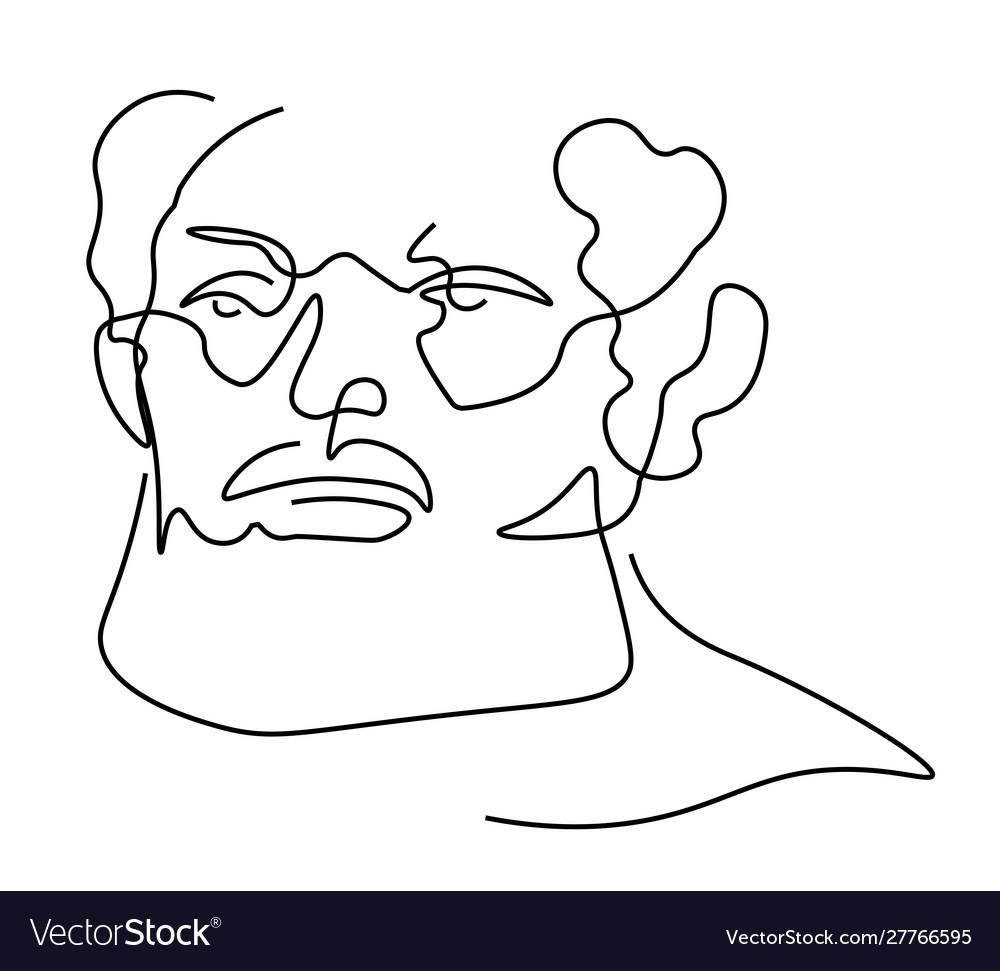 Continuous one line sketch portrait older man