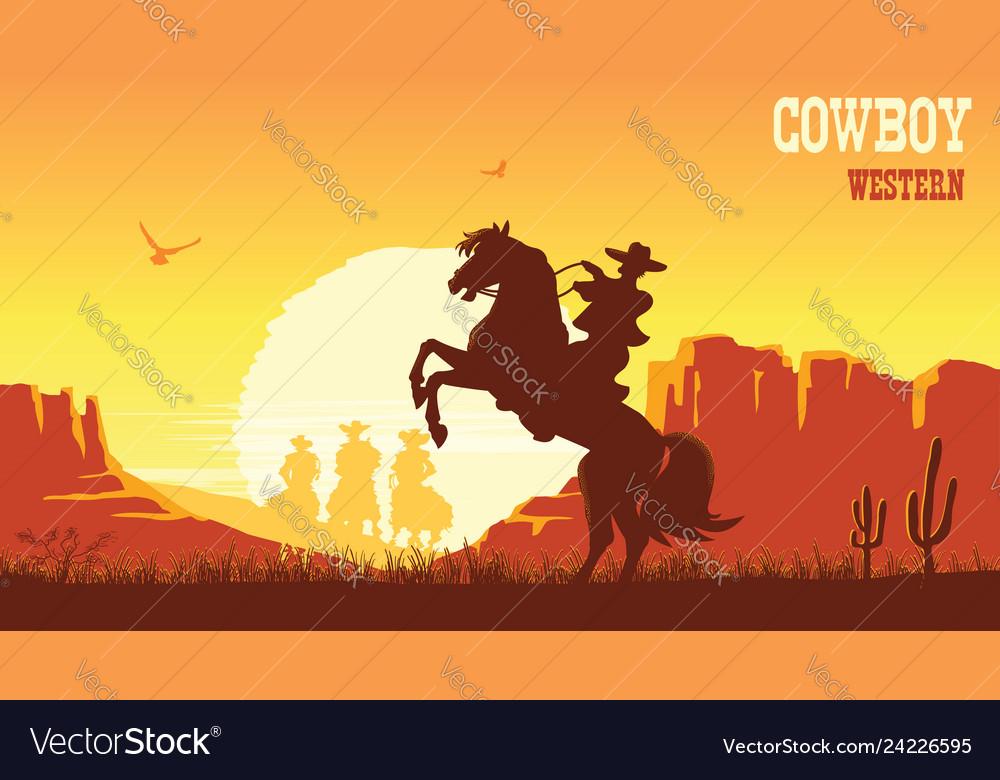 cowboy riding horse at sunset prairie landscape vector