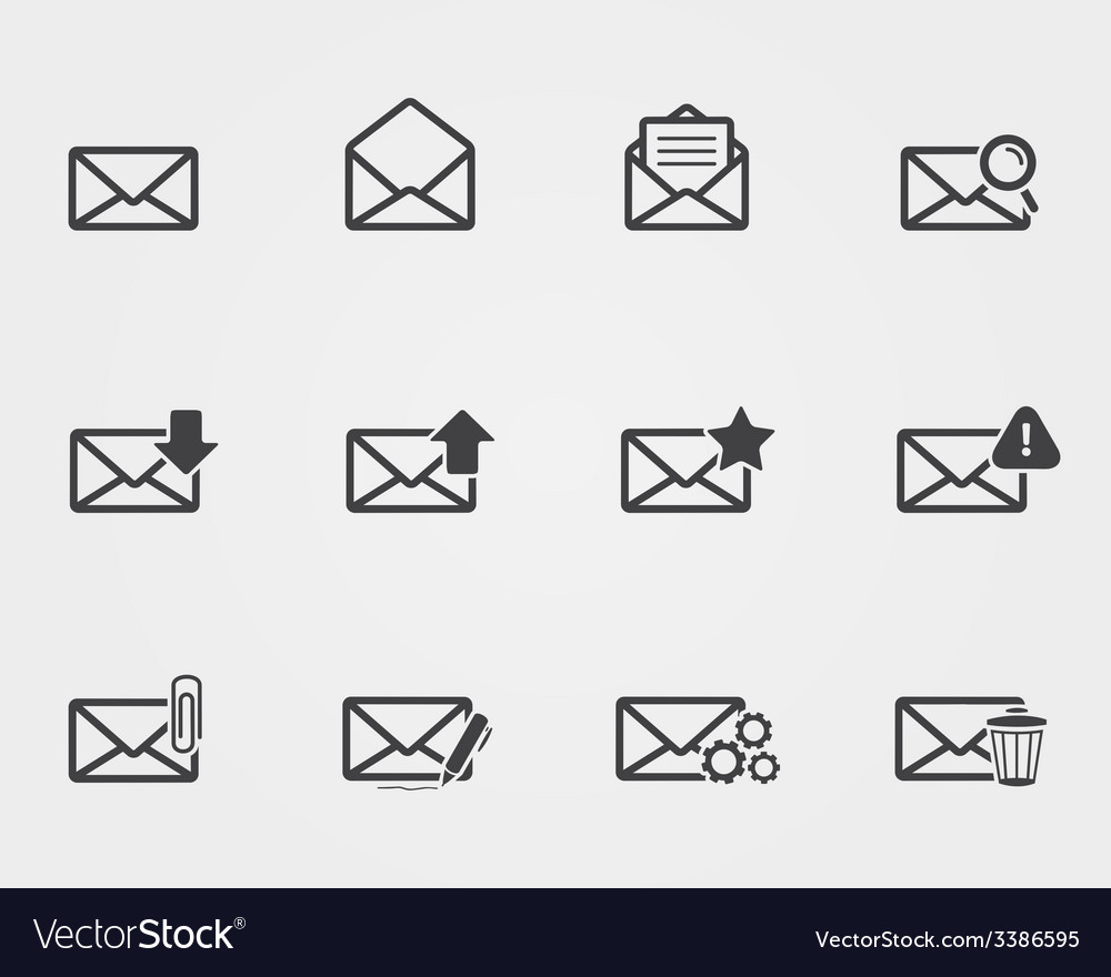 Flat black Email icons set vector image