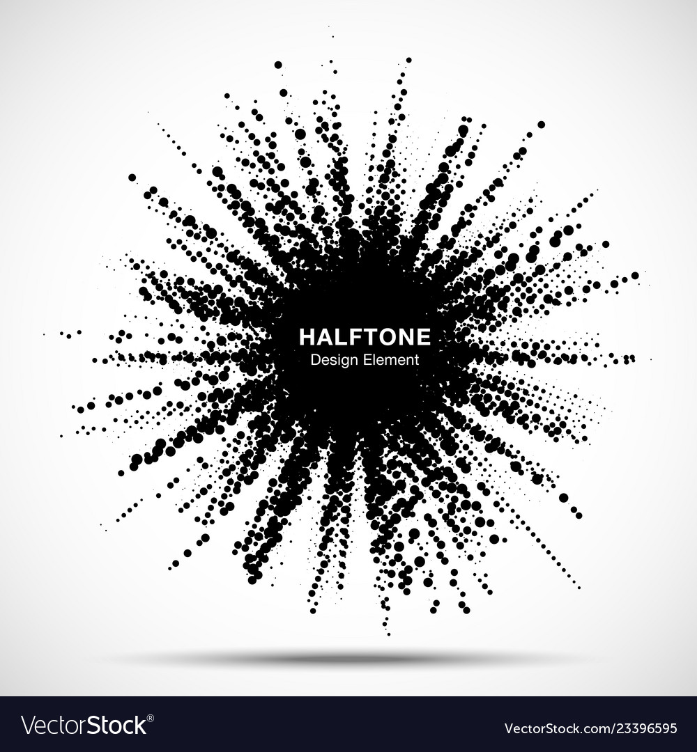 Halftone star frame grunge spot halftone circle vector