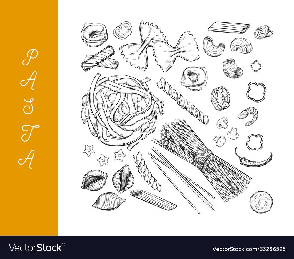 Italian pasta set different types pasta