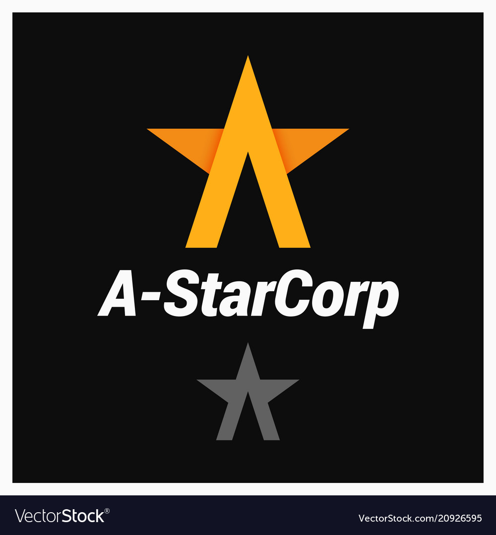 Letter a logo a-shaped star on black background