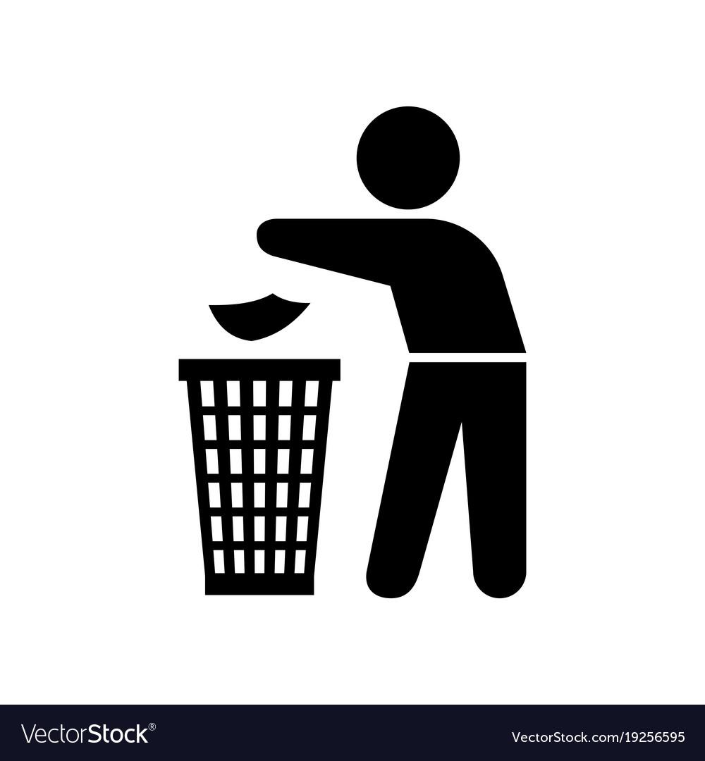 Man throwing trash silhouette