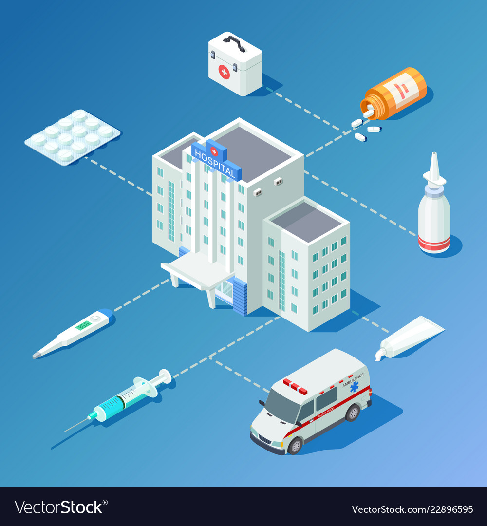 Medicine isometric with hospital building