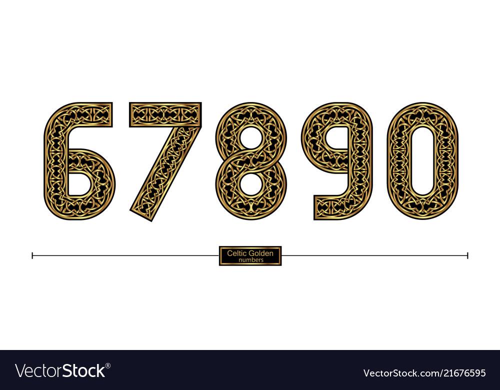 Number celtic golden style in a set 67890