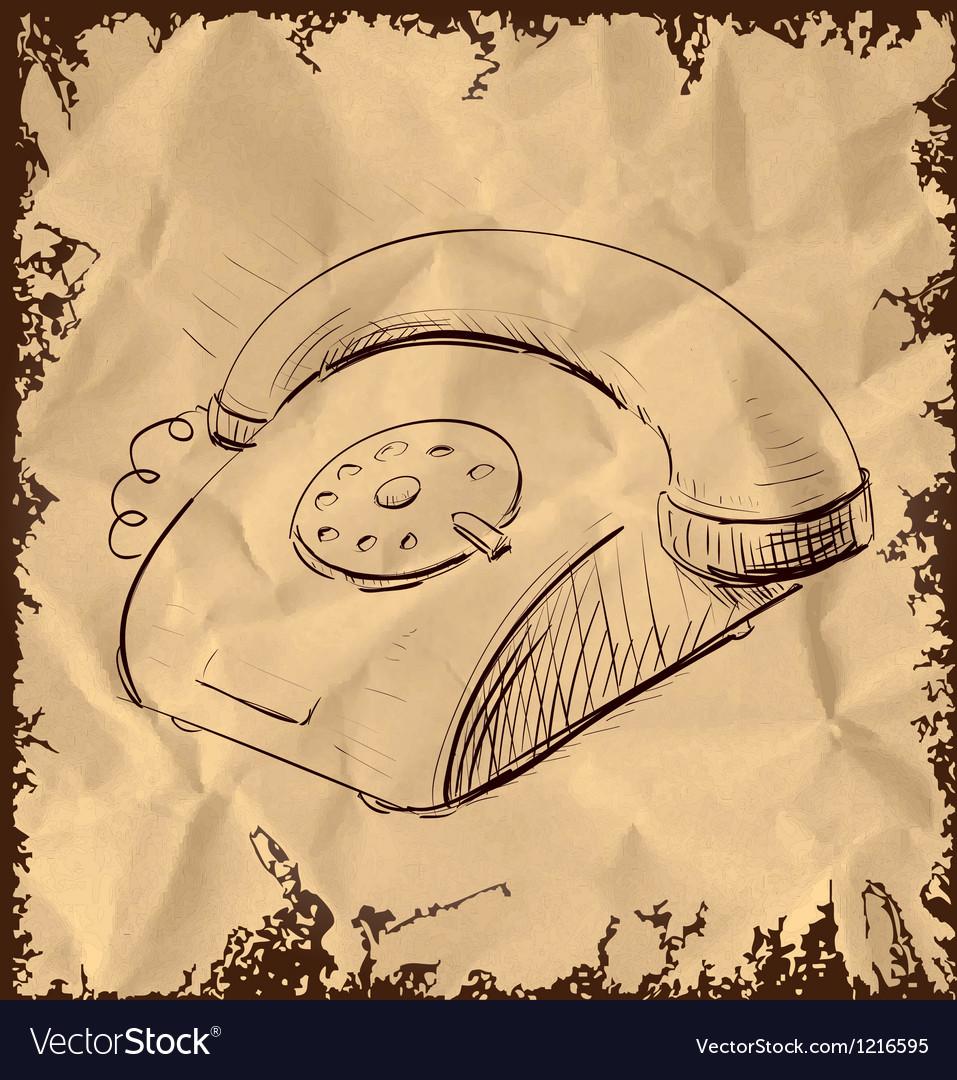 Retro phone isolated on vintage background