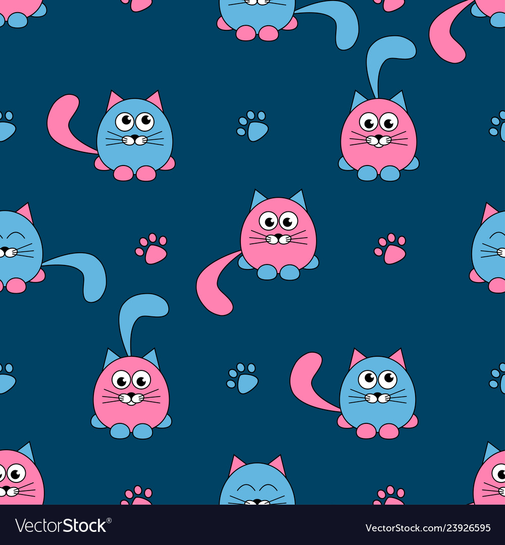 Seamless pattern with cute pink and black cats and