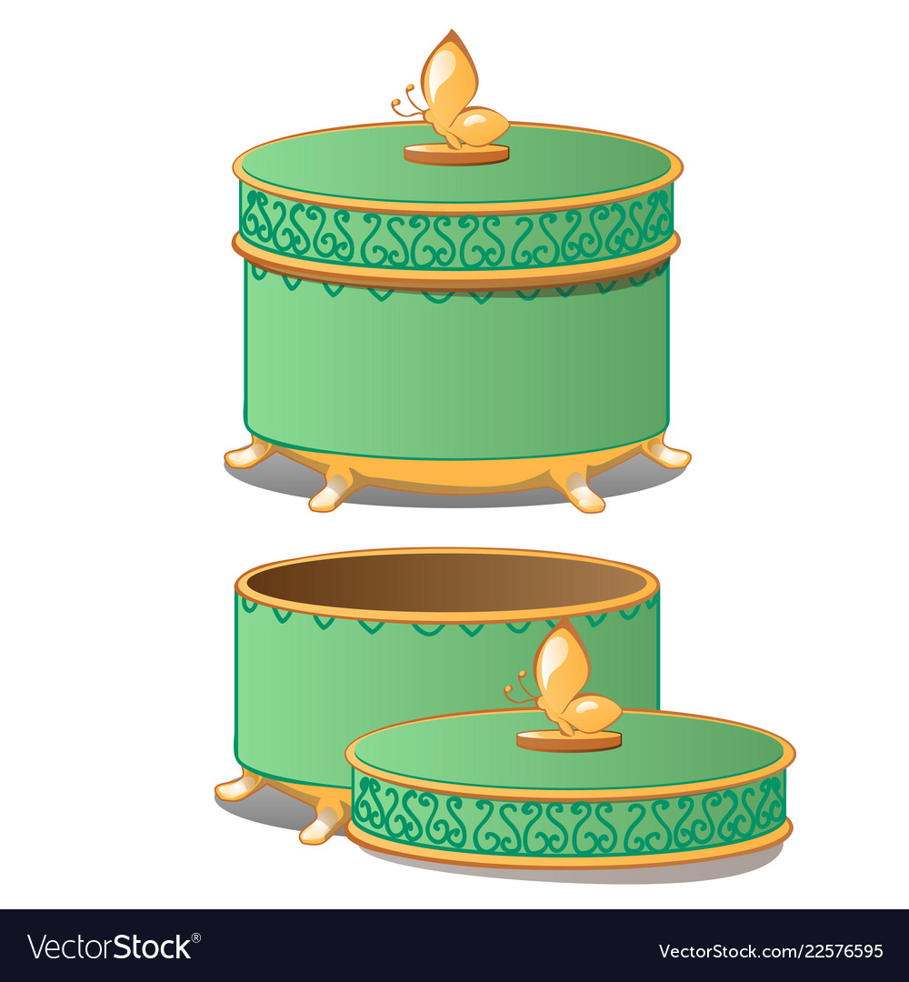 Set of closed and opened round ornate gift boxes