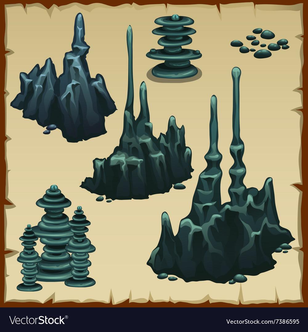 Set of grey stones stalactites