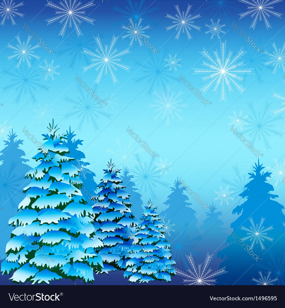 Winter background with fir tree and snowflakes