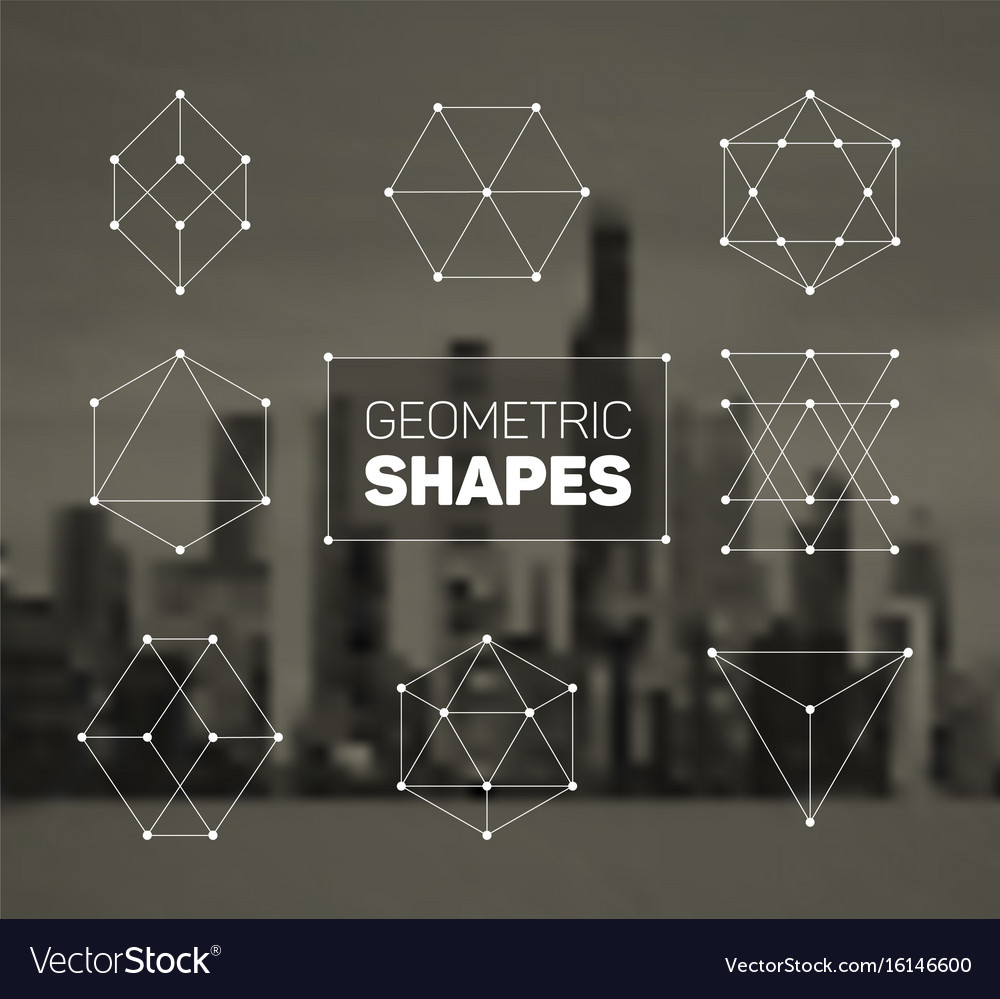 Abstract regular geometric shapes set