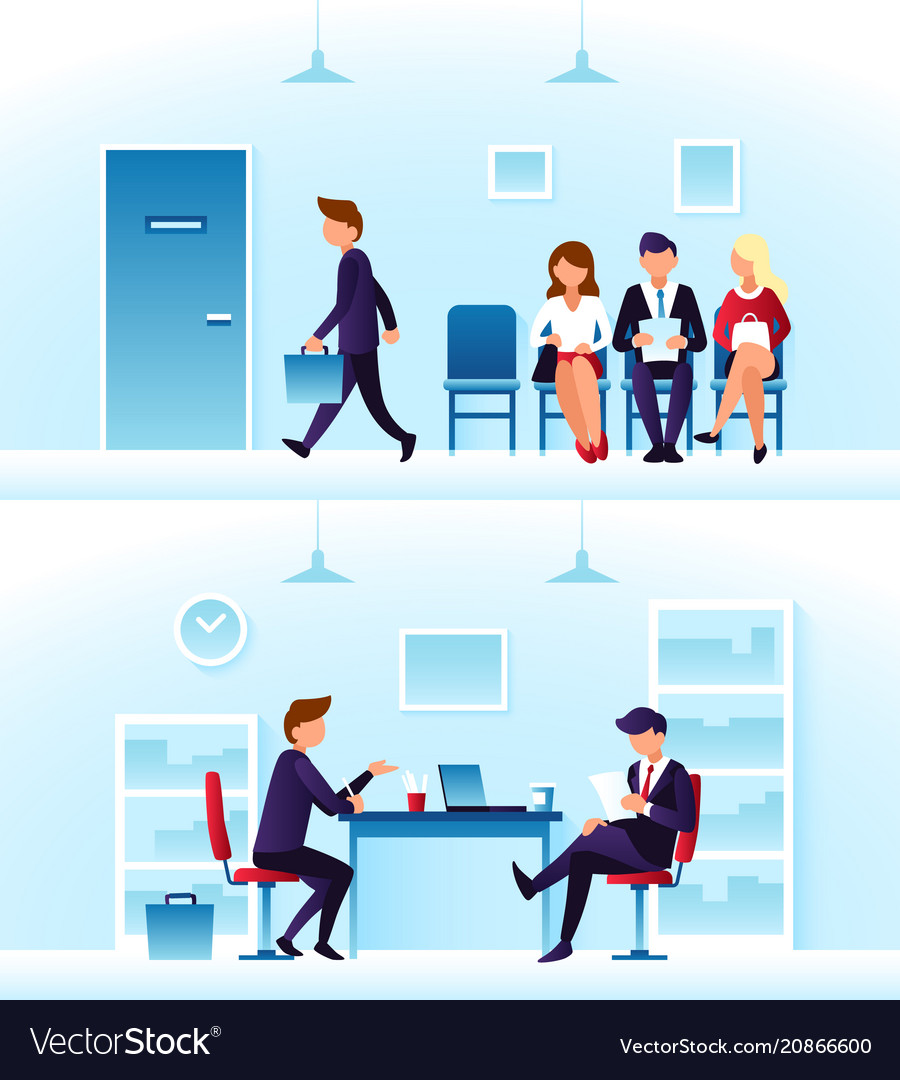 Businessmen diverse employees waiting interview