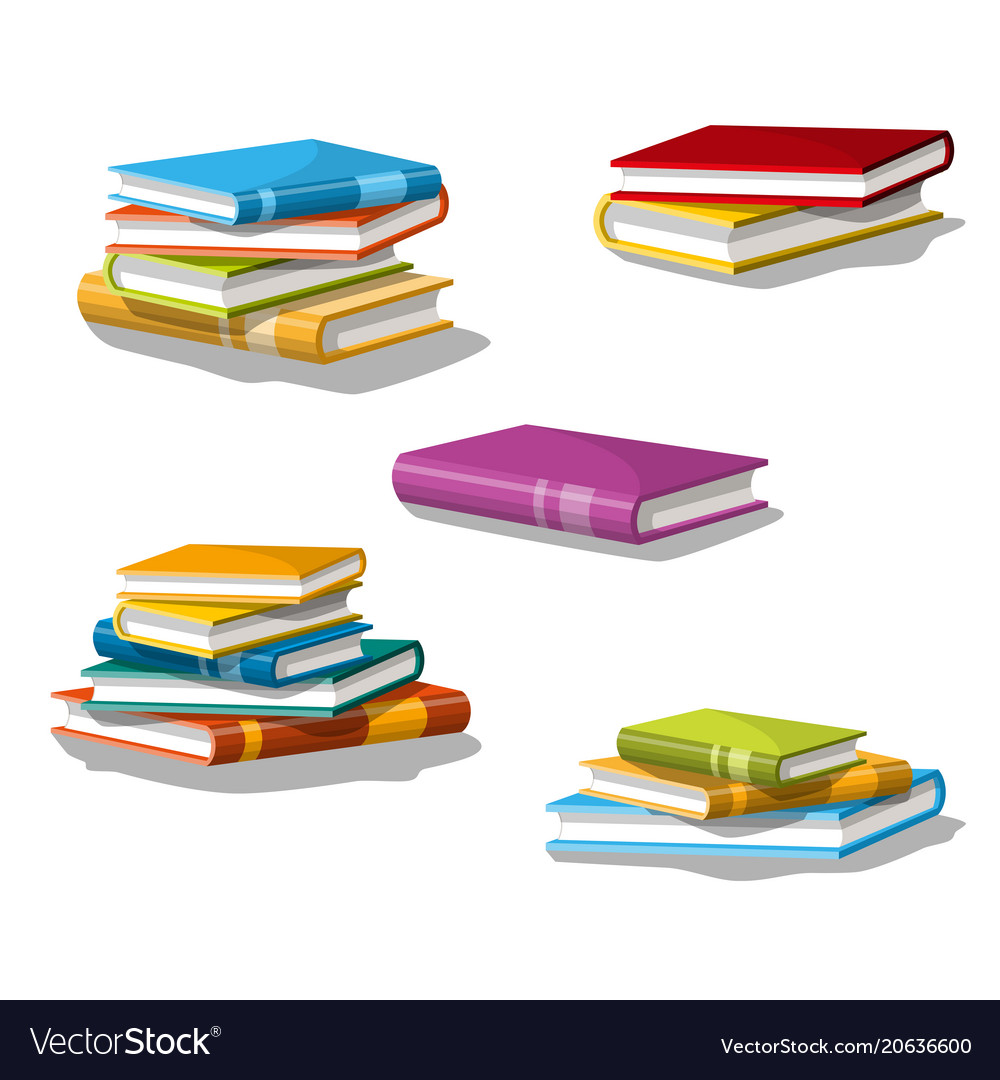 collection of different stacked books royalty free vector