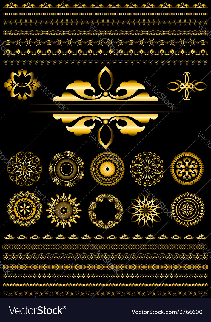 Collection of gold border on black background