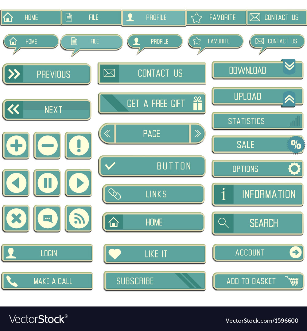 Collection of paper web buttons for your site