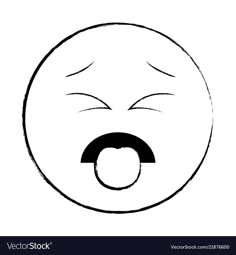 Disgust chat emoticon sketch vector image