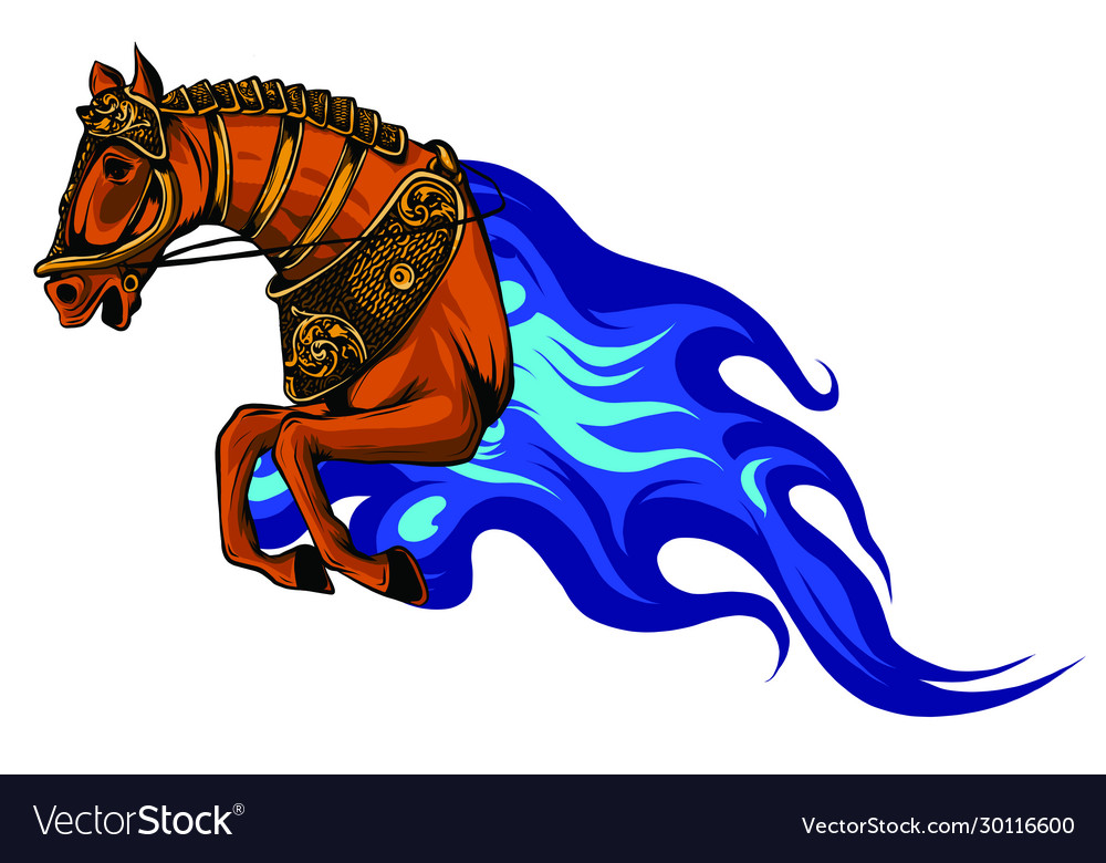 Fire horse or devil stallion symbol with head of