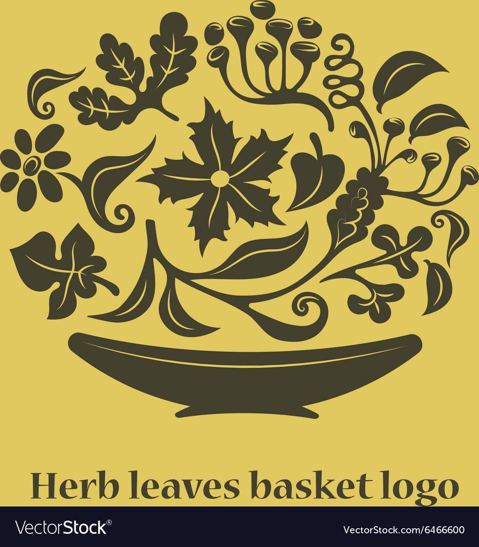 Flower leaves basket logo vector image