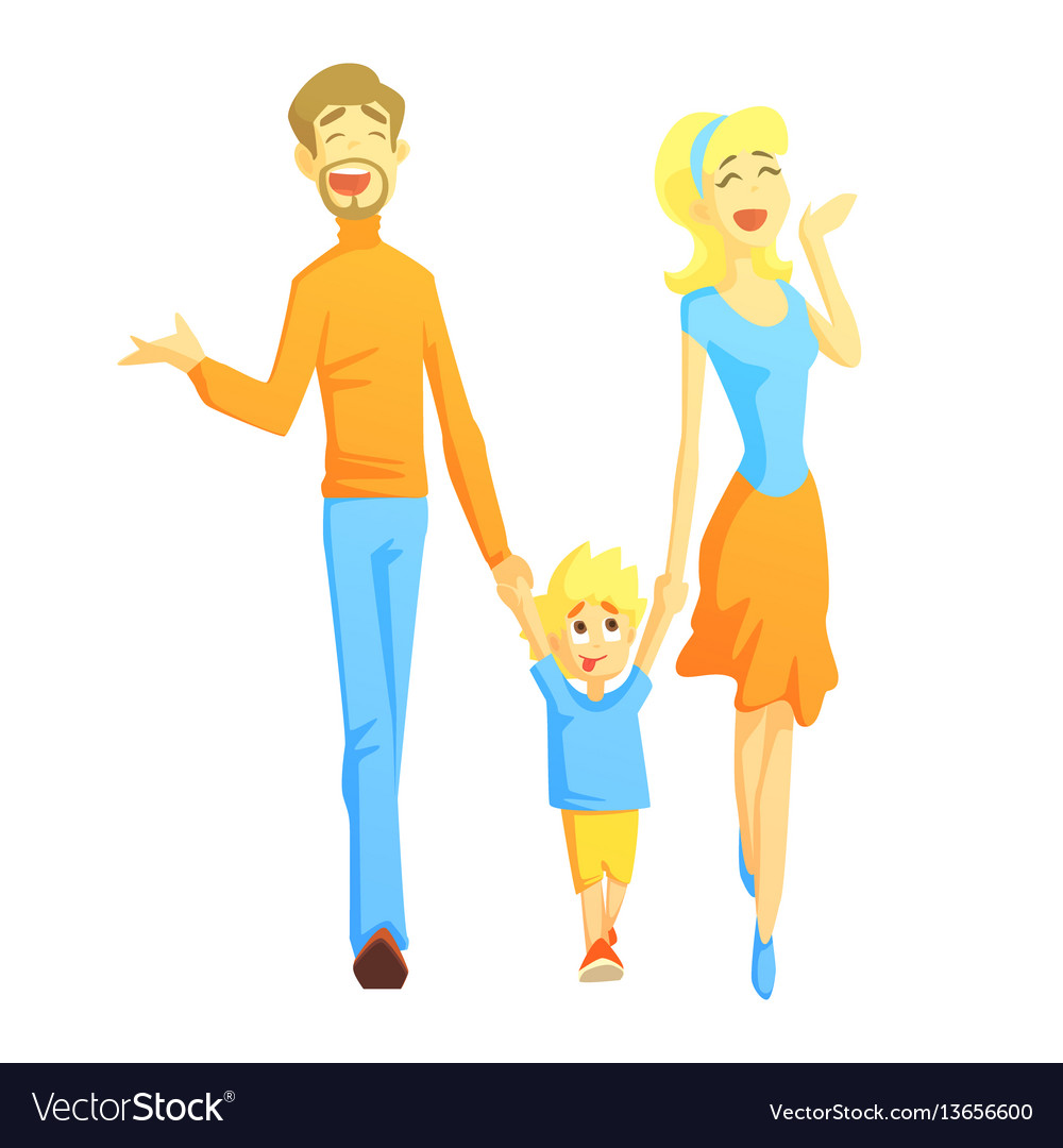 Parents taking a walk with son holding hands vector image