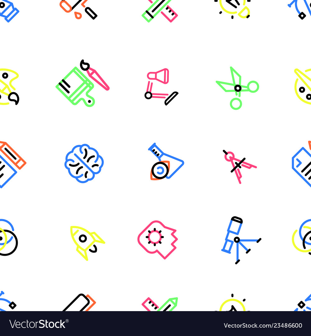 Pattern of creative icons with colorful fill