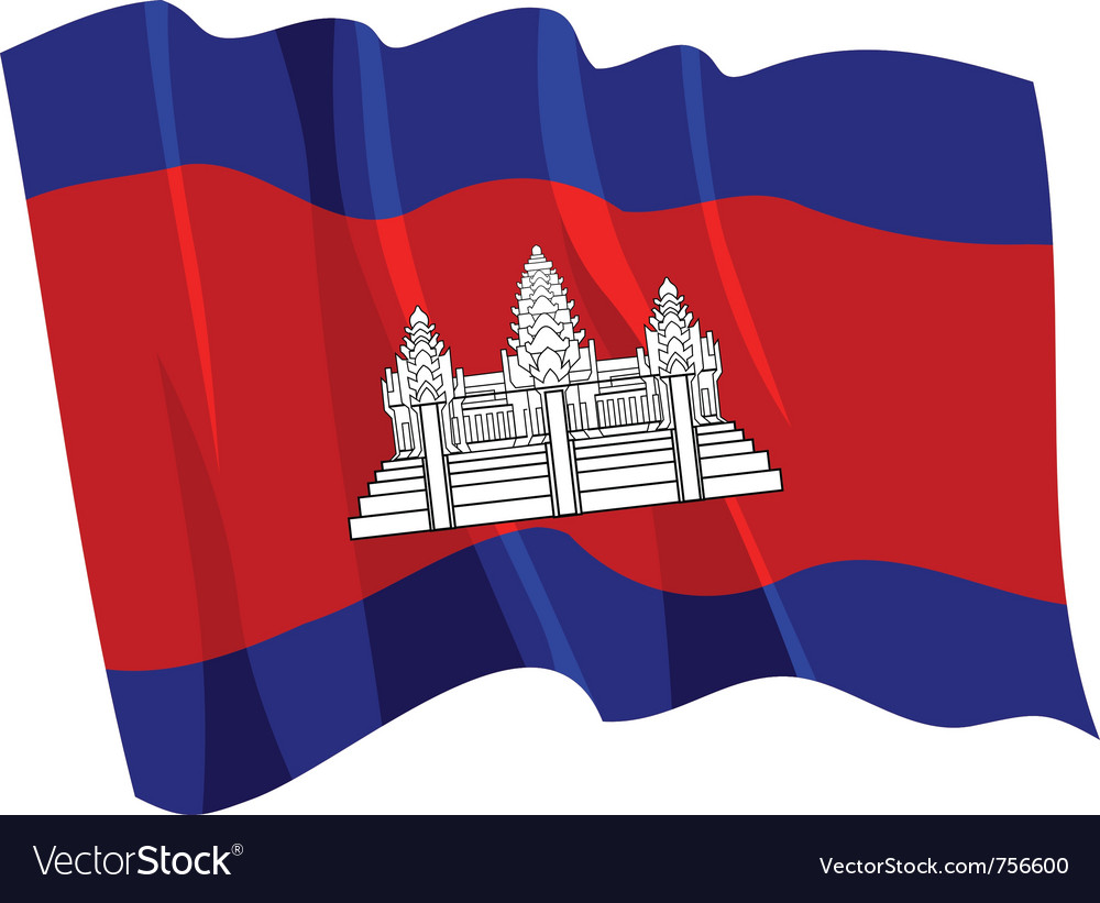 Political waving flag of cambodia