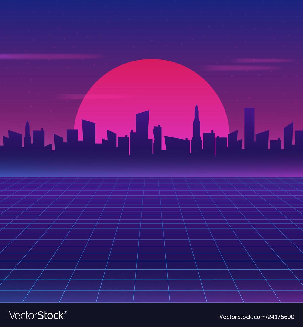 retro future 80s style sci fi wallpaper vector 24176600