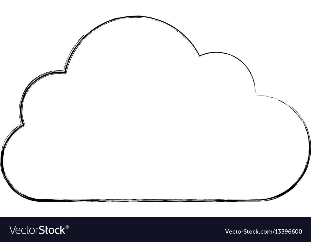 Silhouette sticker cloud icon