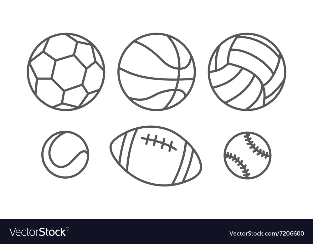 Sports balls in linear style