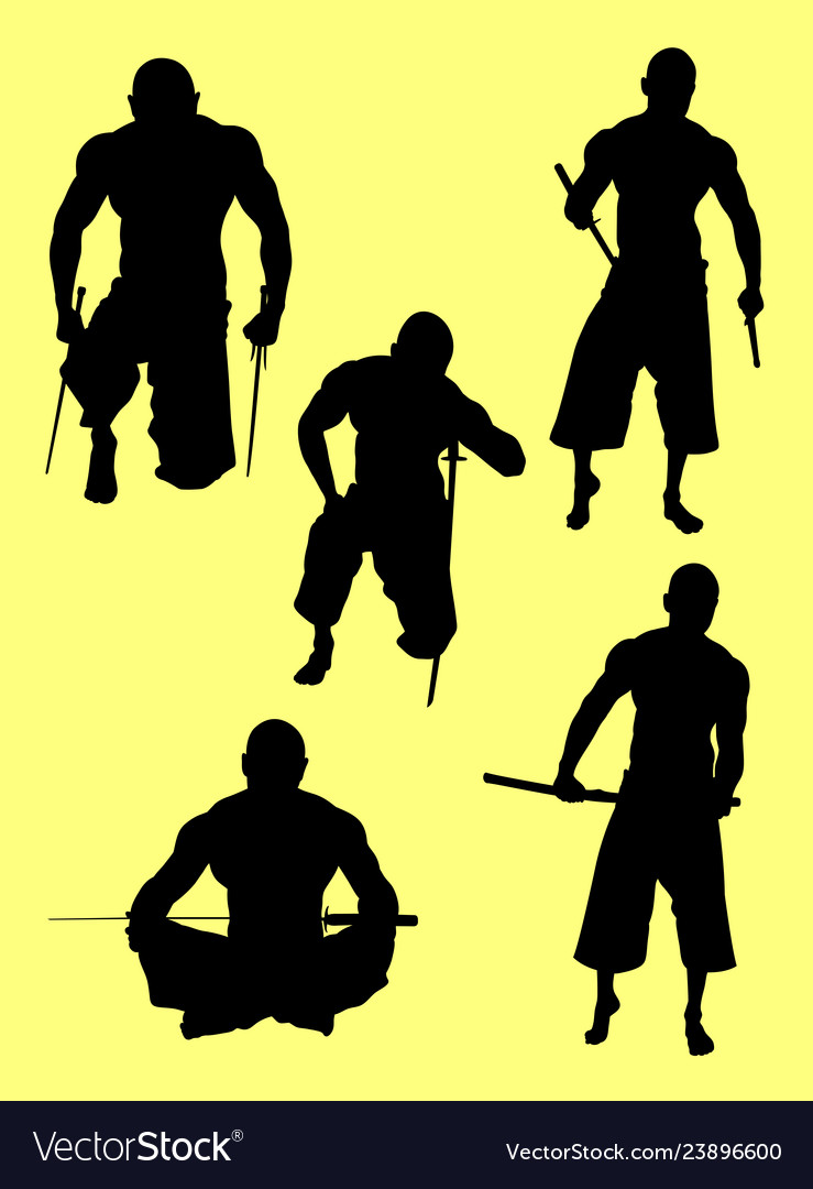 Traditional martial art silhouettes