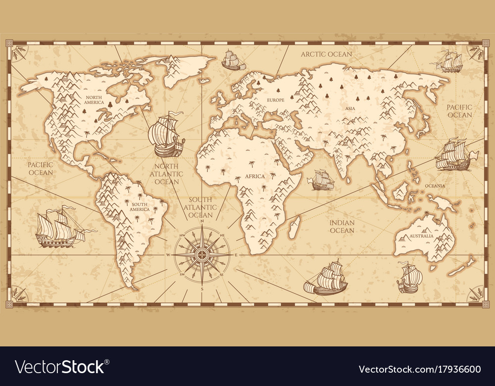 Vintage physical world map with rivers and vector image gumiabroncs Choice Image