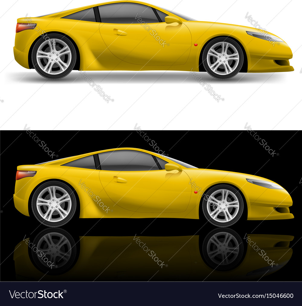 Yellow sport car icon on white and black