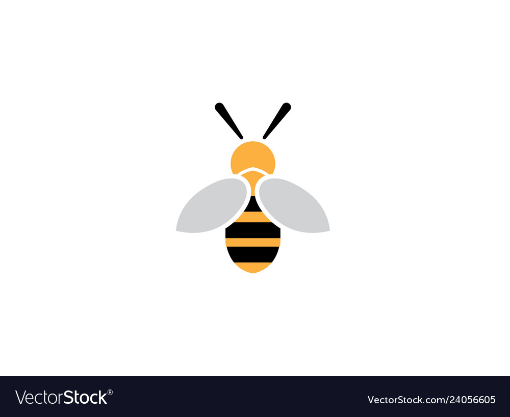 Bee open wings and fly for logo design