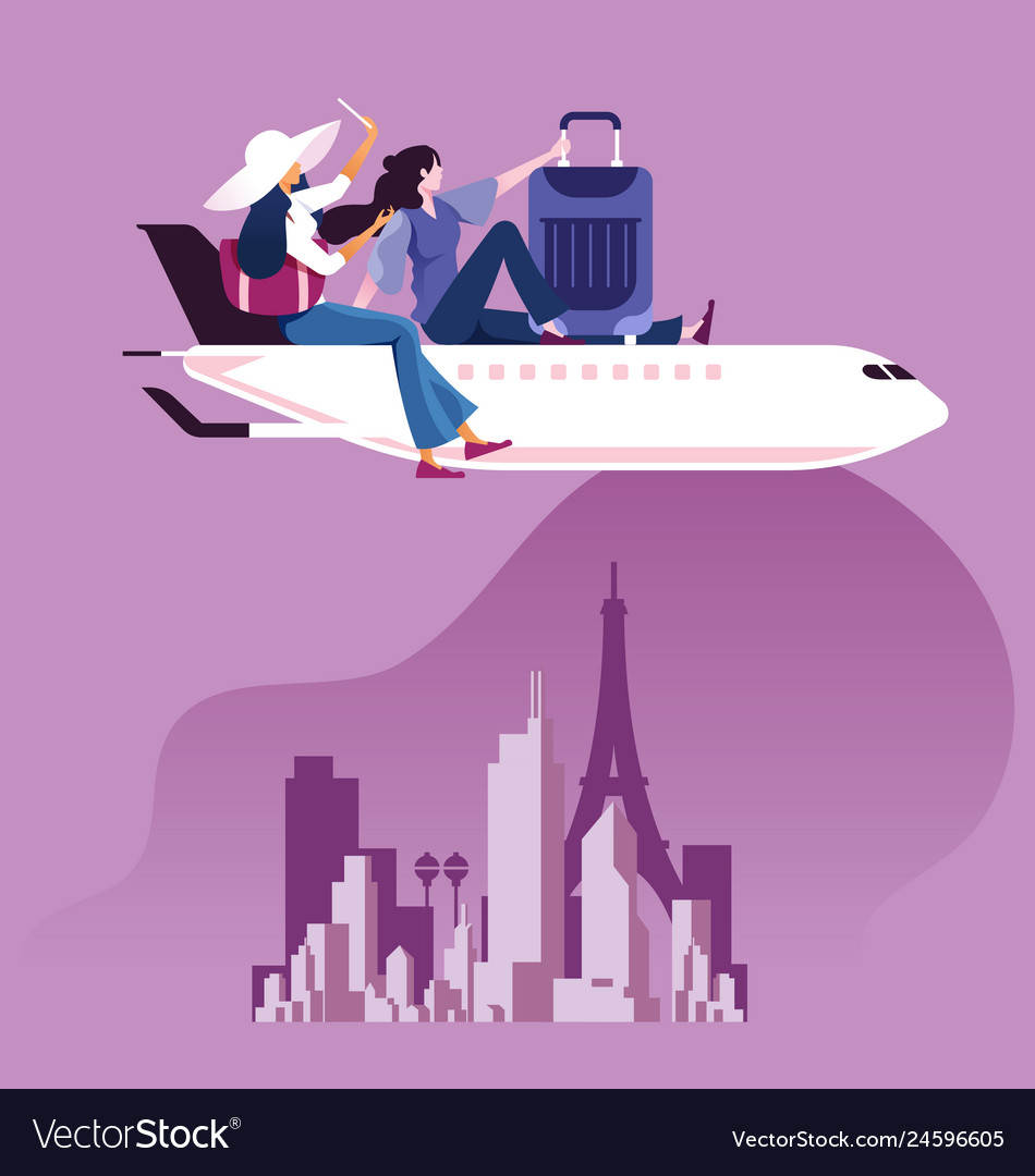 Businesswoman sit on top of airplane to travel