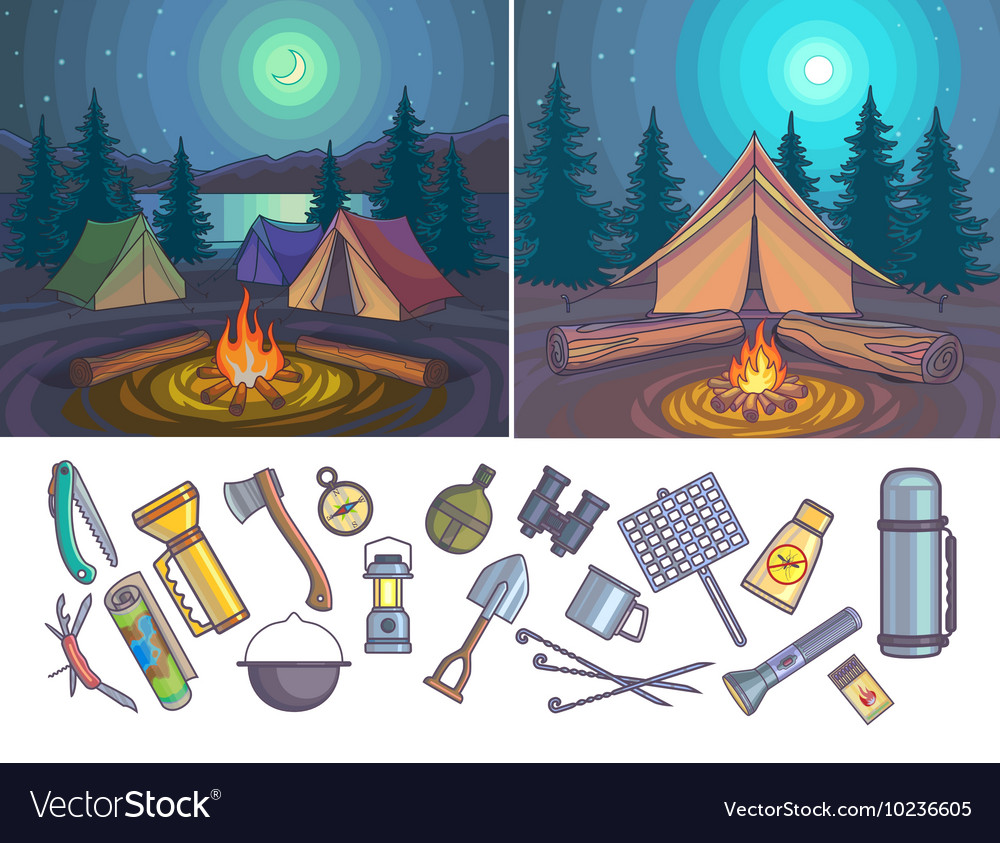 Camping Infographic set with backgrounds and
