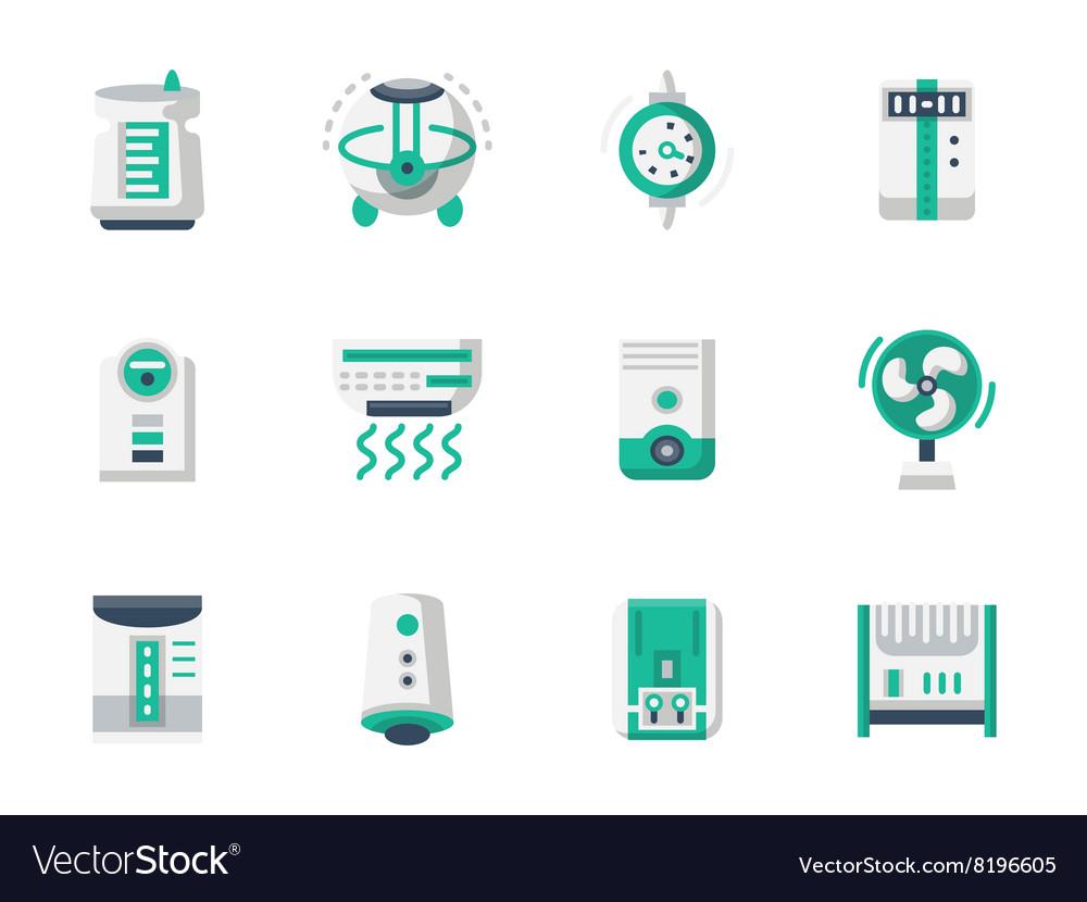 Climatic technics flat design icons set