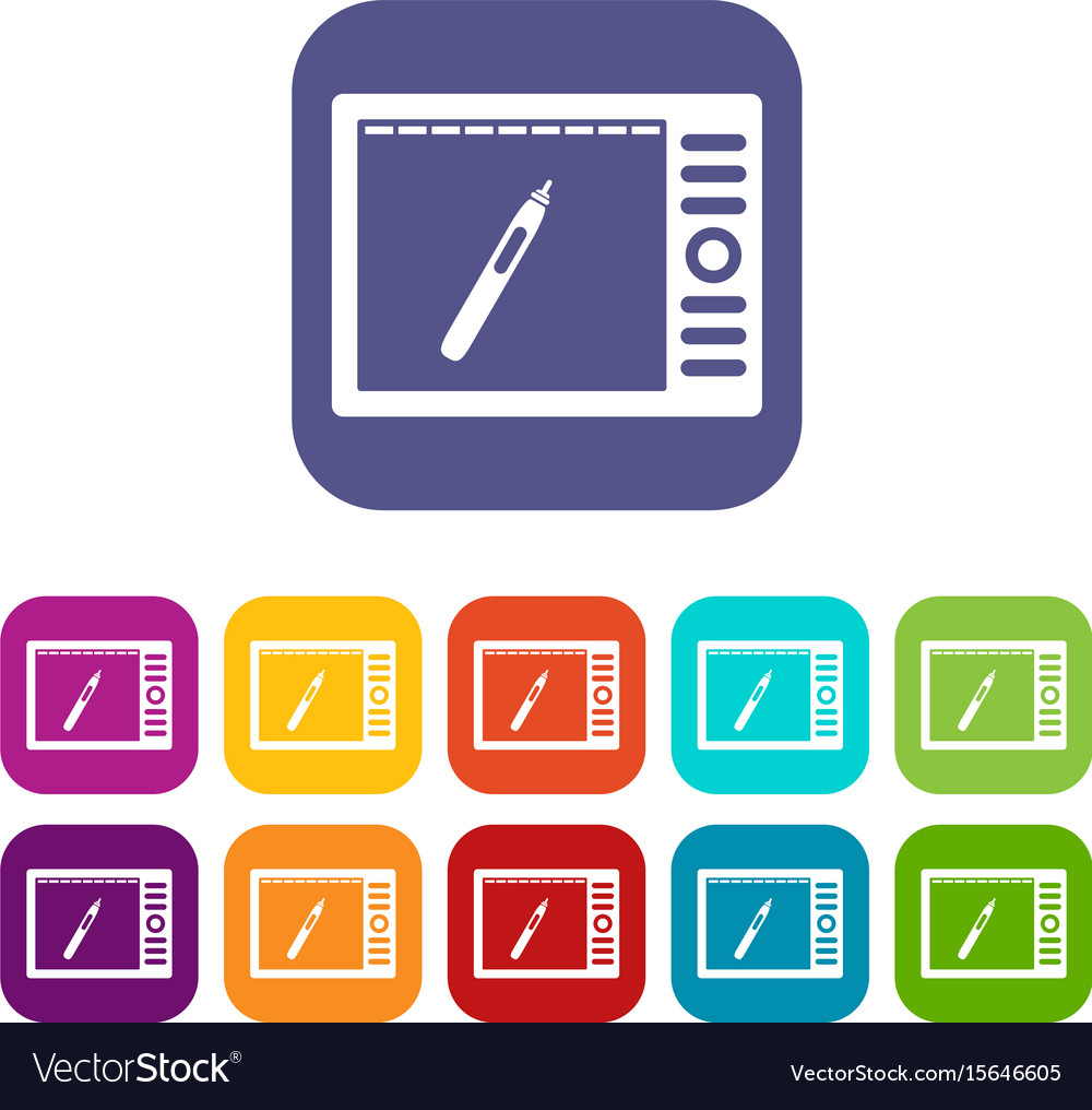 Graphics tablet icons set flat