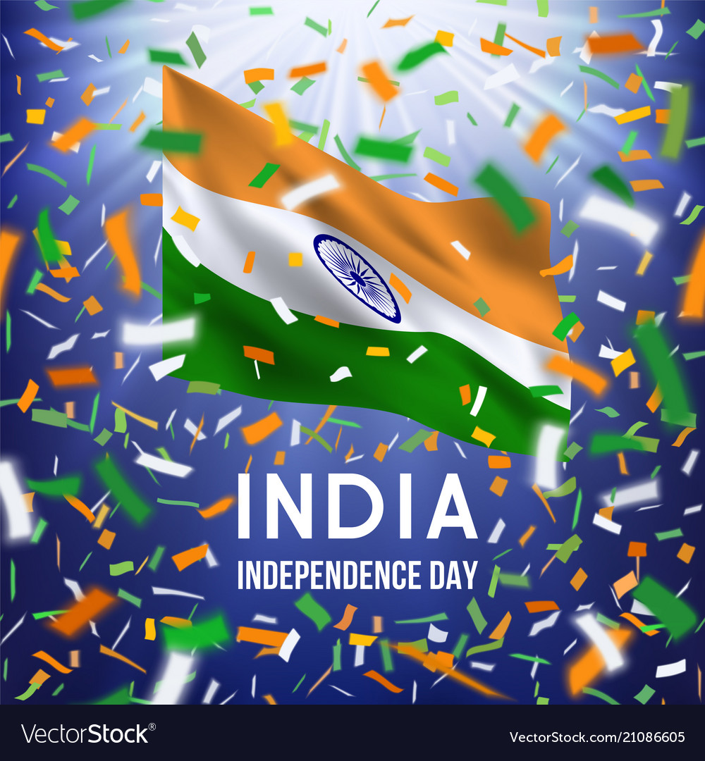 Happy indian independence day card with confetti