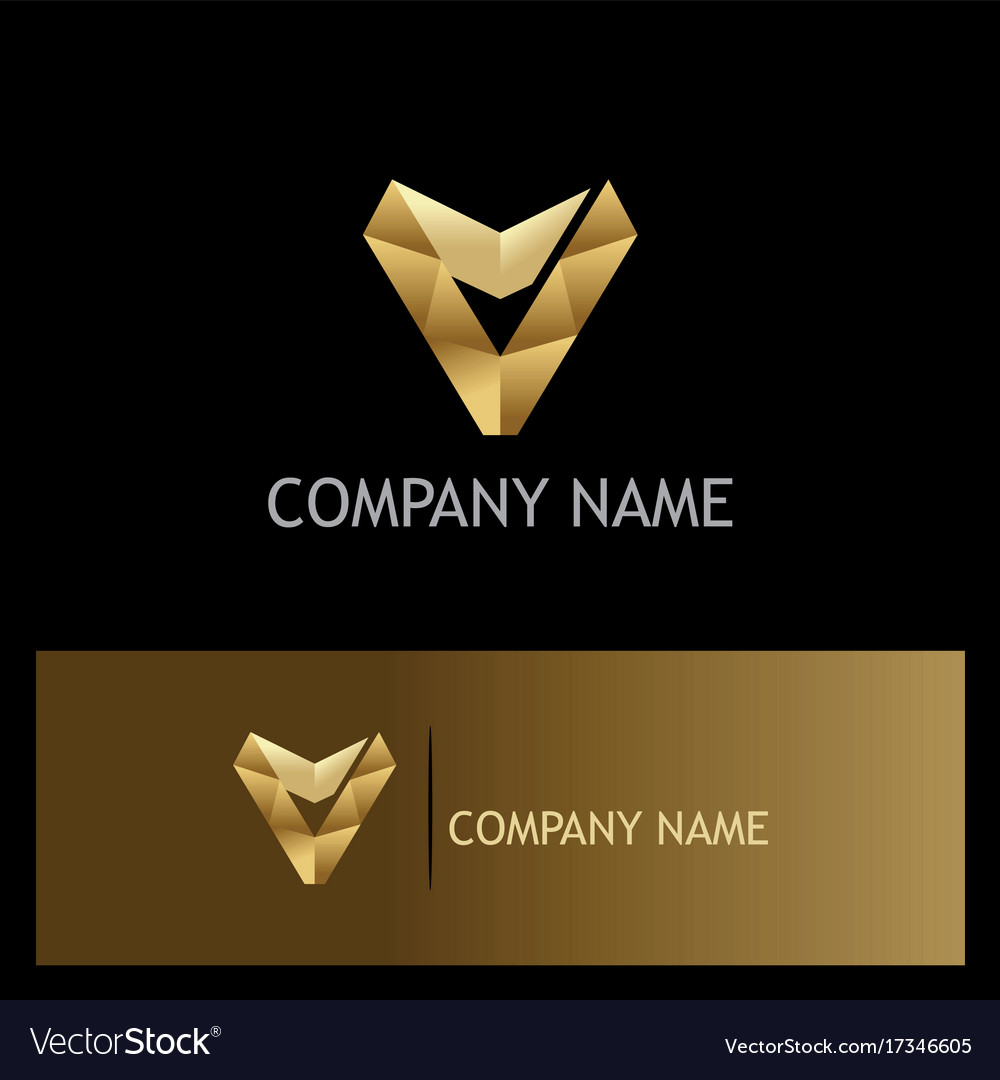 Letter v triangle gold company logo